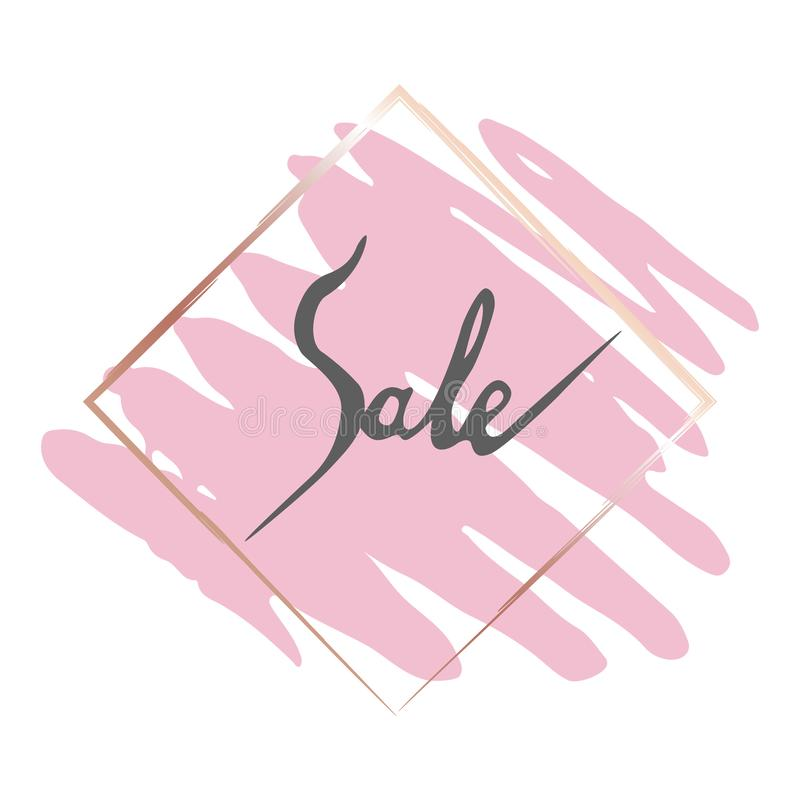 Sales gold frame and pink brush stock illustration