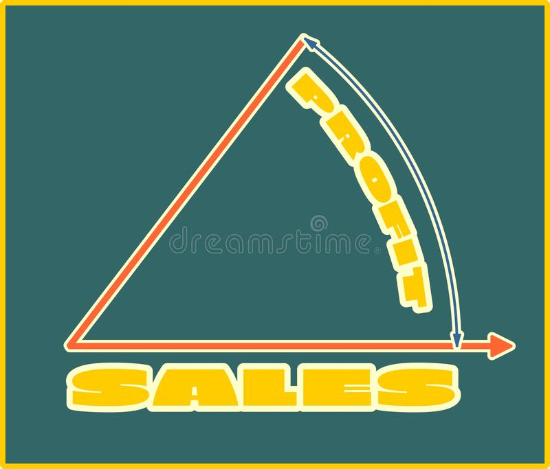 Sales grow up diagramm. Yellow sales and profit text. Sales progress diagramm. Relative for retail business vector illustration