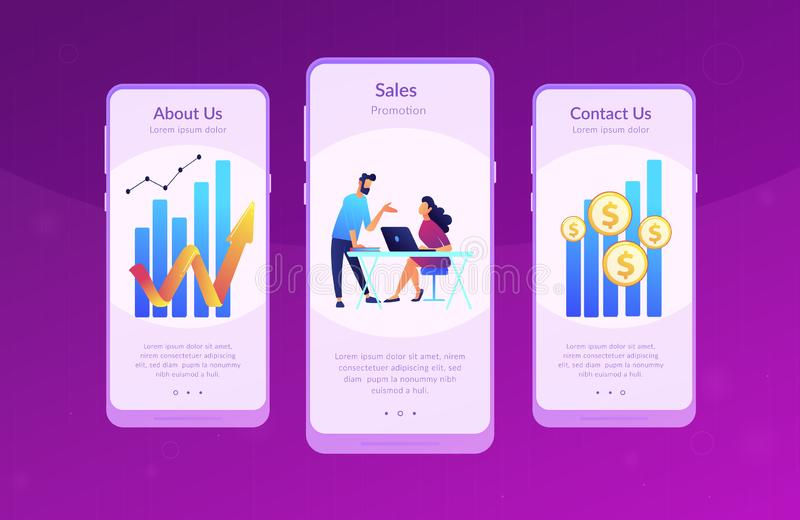 Sales growth app interface template. Sales managers with laptops and growth chart. Sales growth and manager, accounting, sales promotion and operations concept royalty free illustration