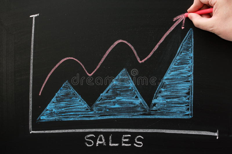 Drawing Line Graphs By Hand : Sales growth chart stock photo image of change blue