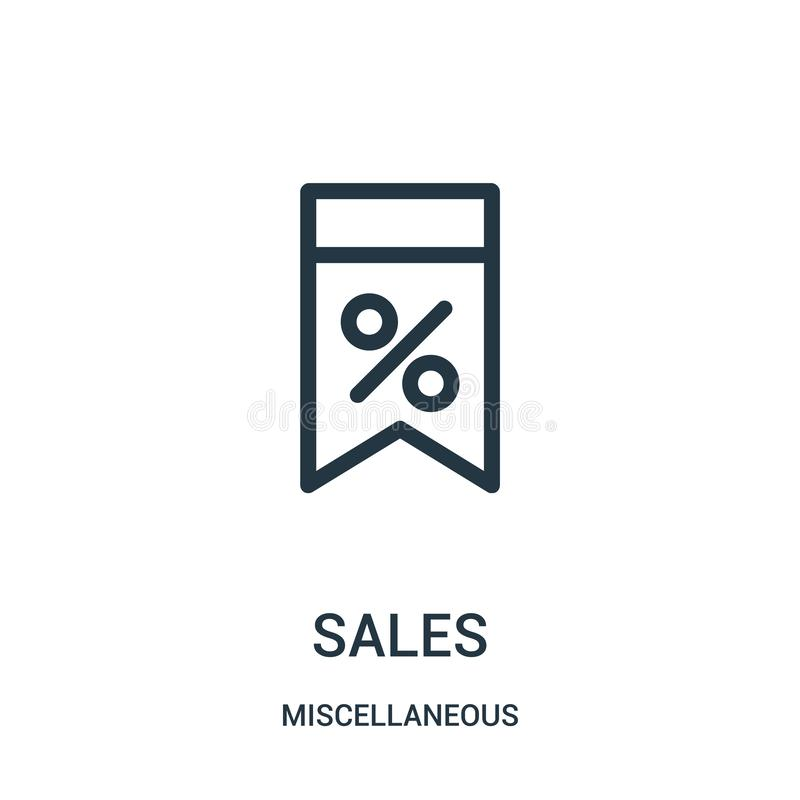 sales icon vector from miscellaneous collection. Thin line sales outline icon vector illustration. Linear symbol for use on web royalty free illustration