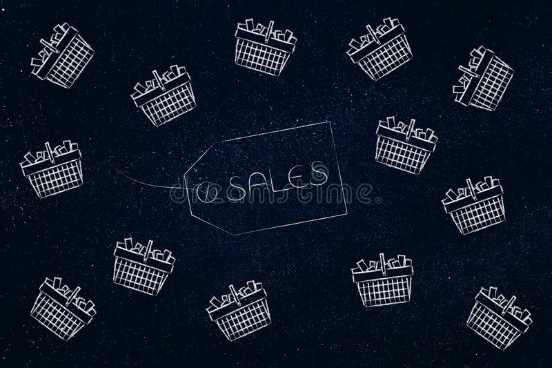Sales item label surrounded by flying shopping baskets royalty free illustration