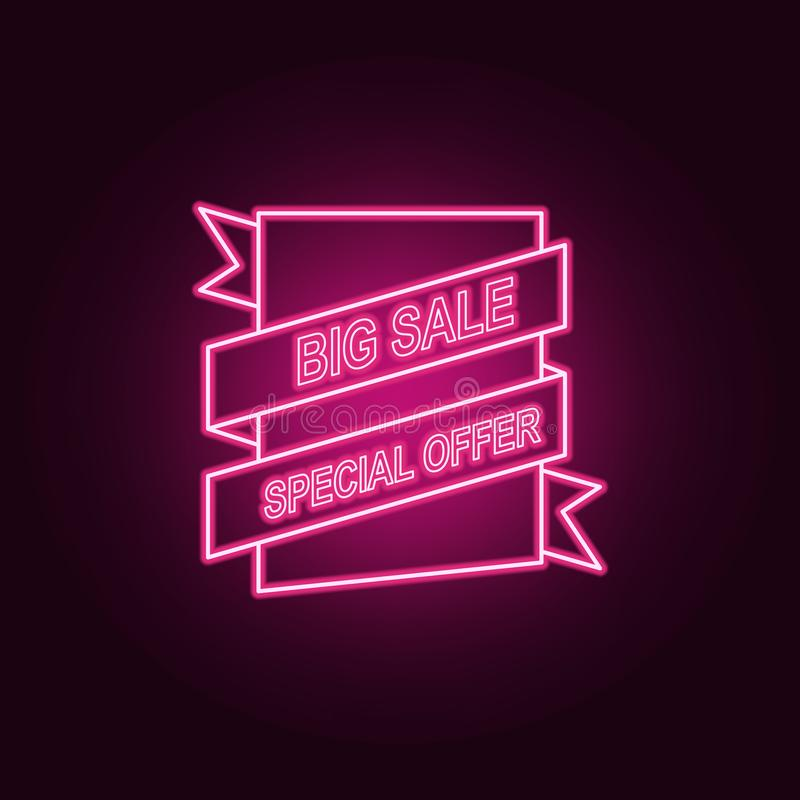 sales label neon icon. Elements of Sale set. Simple icon for websites, web design, mobile app, info graphics royalty free illustration