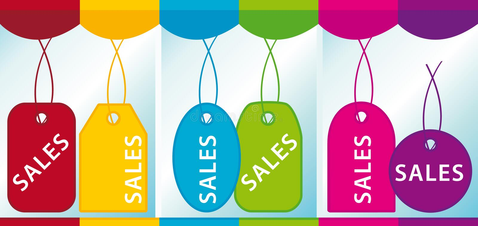 Download Sales labels in a showcase stock vector. Image of label - 9873927