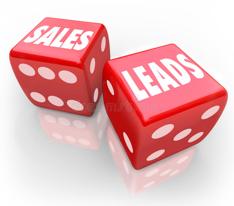 Sales Leads Words Red Dice Gambling New Business Customers stock illustration
