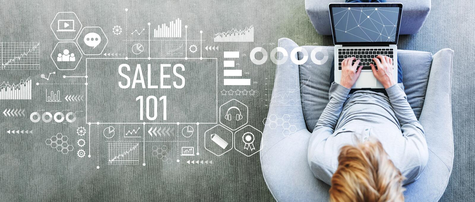 Sales 101 with man using a laptop royalty free stock photo