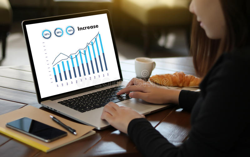 Sales Many charts and graphs Business Increase Revenue Shares Co. Ncept royalty free stock photos