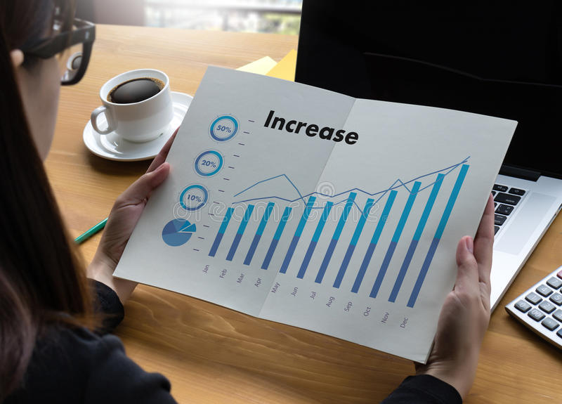 Sales Many charts and graphs Business Increase Revenue Shares Co. Ncept stock image