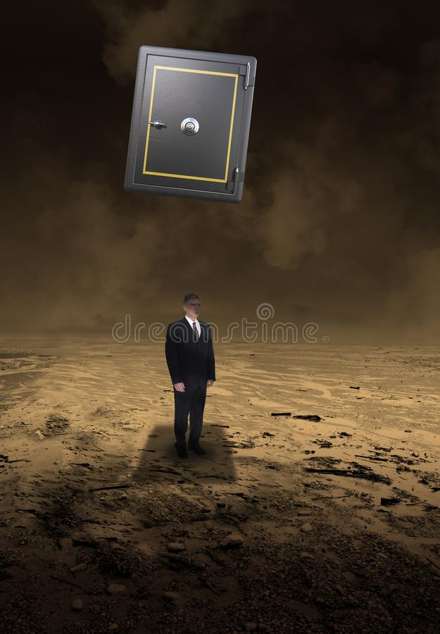 Sales, Marketing, Business, Risk Management. Surreal scene of a businessman under a falling safe. Danger lurks in the business world in this metaphor for sales stock photography