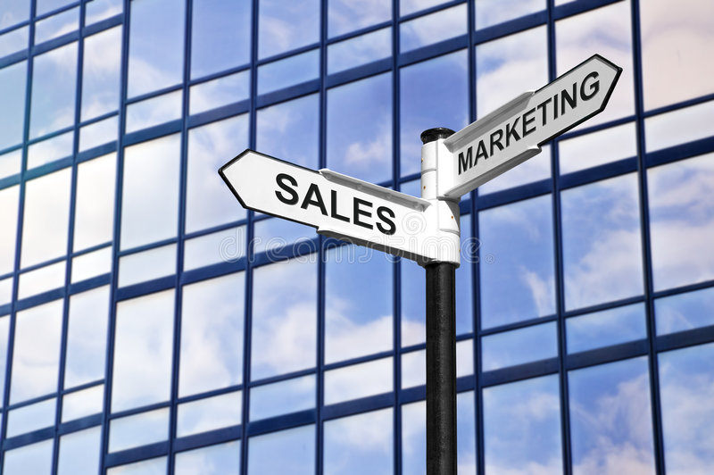 Sales & Marketing business signpost stock photo