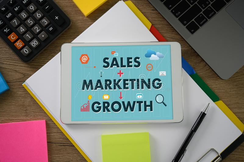 SALES MARKETING CONCECT , Customer Marketing Sales Dashboard Graphics and Business Marketing Team Discussion Corporate stock image