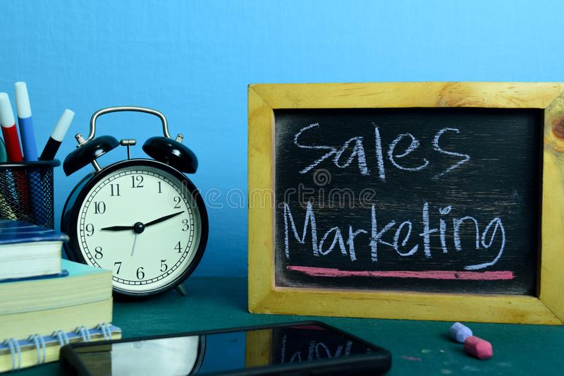 Sales Marketing Planning on Background of Working Table with Office Supplies. royalty free stock photos