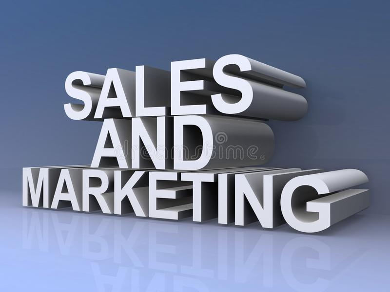 Sales and marketing sign. An illustration of the words sales and marketing vector illustration