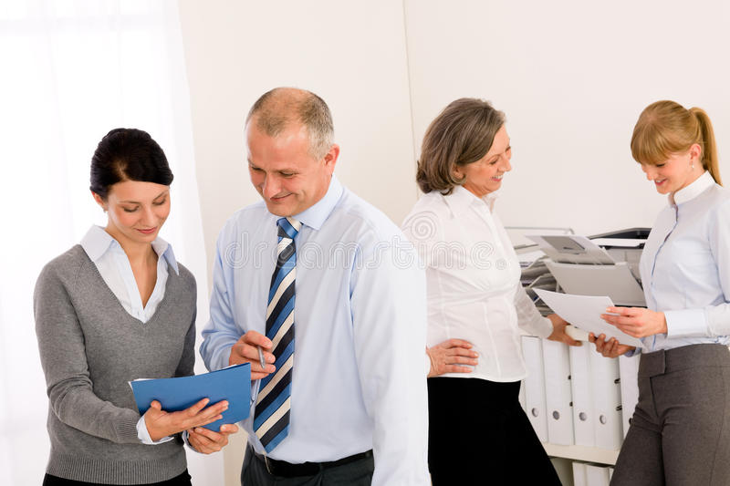 Sales meeting business people review reports stock image