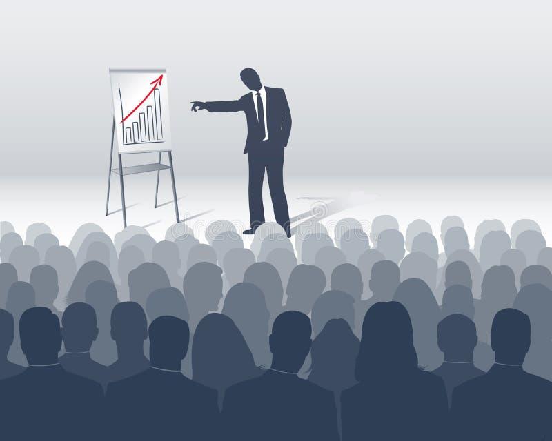 Sales presentation. Seminar or sales presentation with many listener