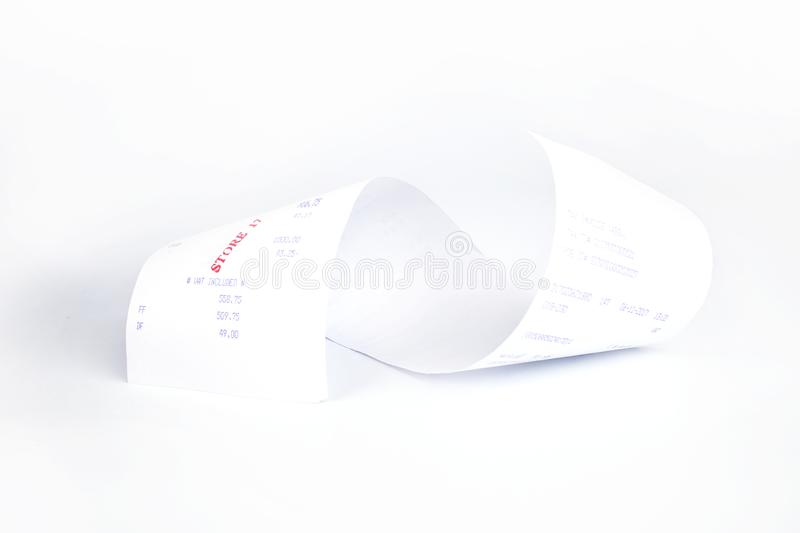Sales receipts Grocery shopping list on a till roll printout.  stock photography