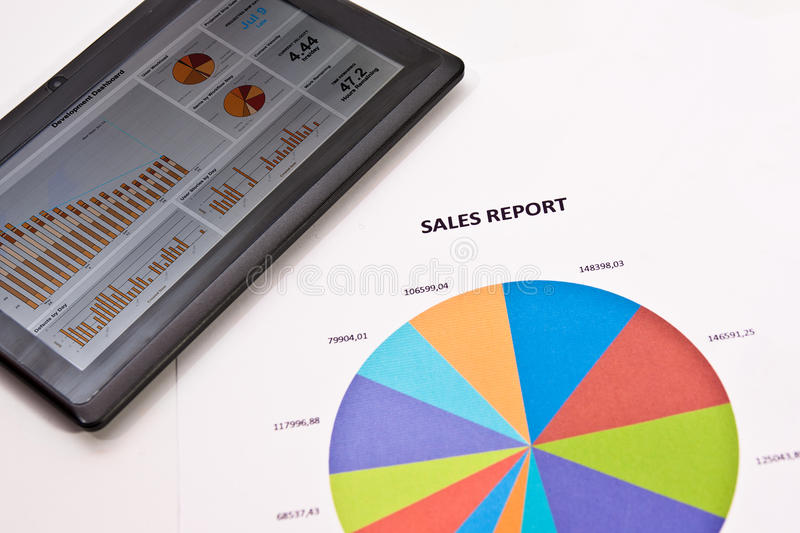Sales Report on Tablet royalty free stock photos