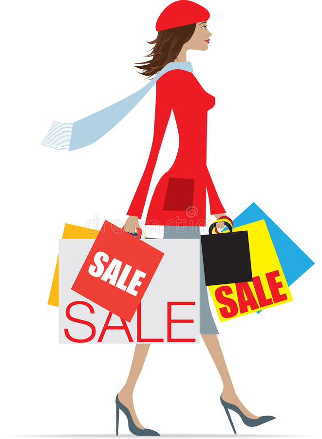 Sales shopping woman vector illustration