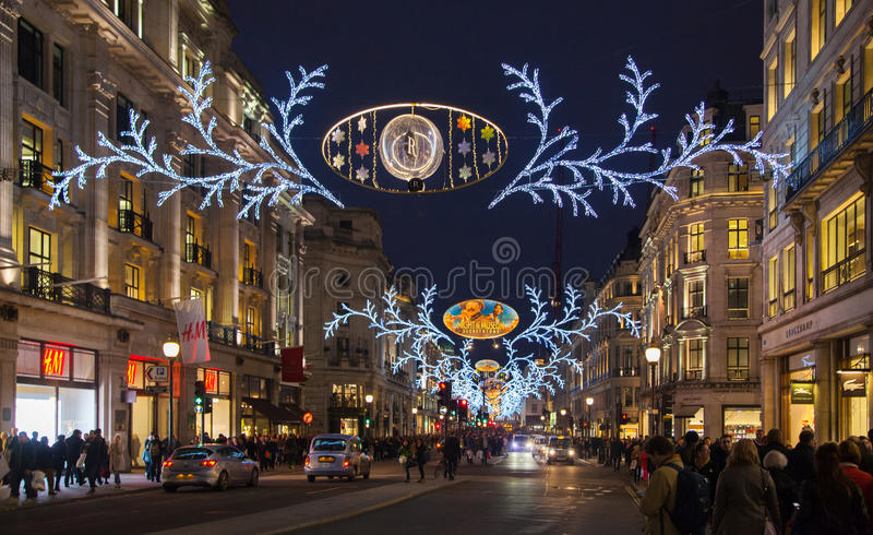 Sales started in London. Regent street in Christmas lights stock images