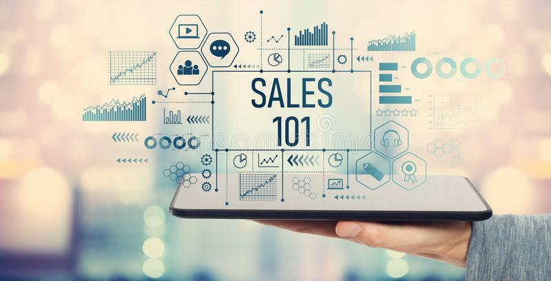 Sales 101 with tablet computer royalty free stock images