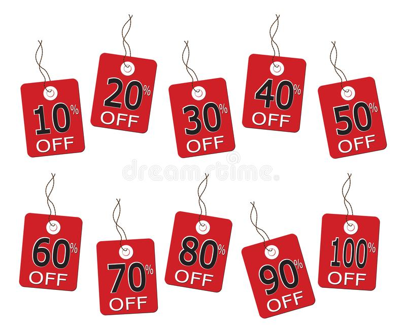 10 Discount Sales Tags On String. 10 sales tags on string from 10% to 100% isolated on a white background vector illustration