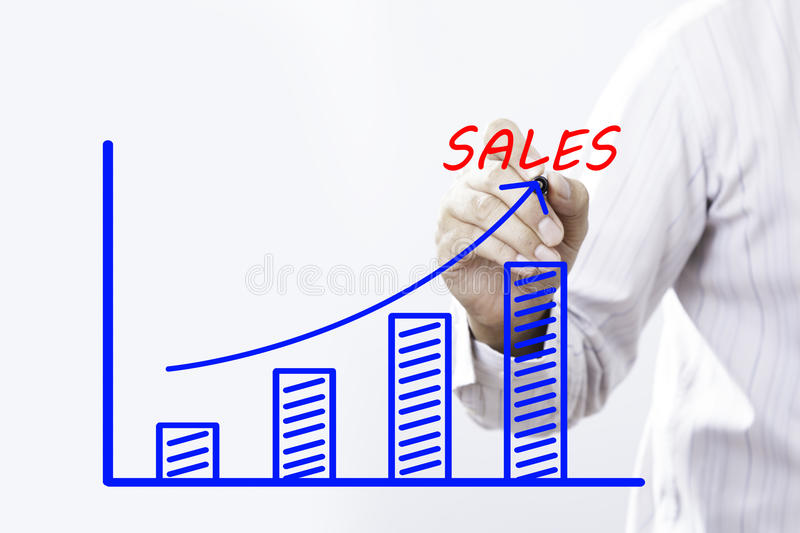 Sales text with hand of young businessman. Point on virtual graph blue line and bar showing on increasing with background -business, finance, salary, crisis royalty free stock images