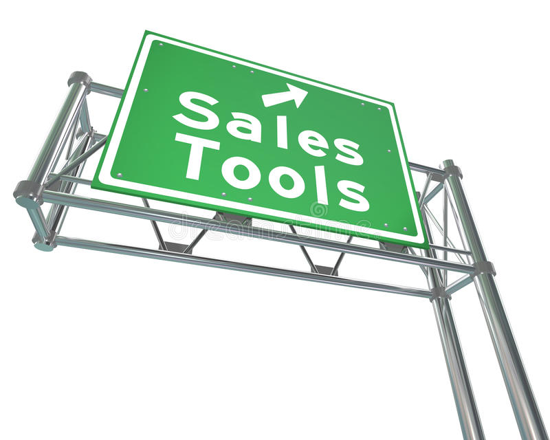 Sales Tools Road Freeway Sign Selling Techniques. Sales Tools green freeway road sign to point you to selling or marketing techniques to drive more closed deals royalty free illustration