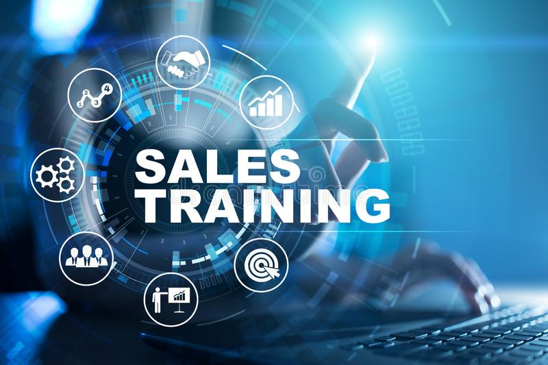 Sales training, Business development and marketing concept on virtual screen. Sales training, Business development and marketing concept on virtual screen royalty free stock image