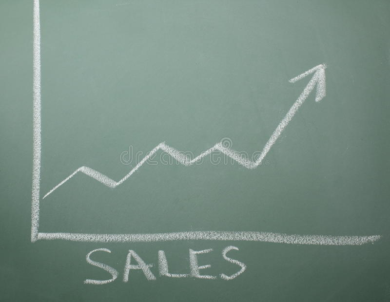 Download Sales are Up on Chalkboard stock image. Image of blackboard - 12672709