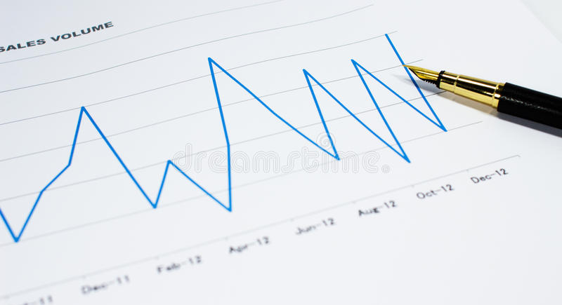 Download Sales Volume Charts On The Table With  Pen Stock Photo - Image: 26836948
