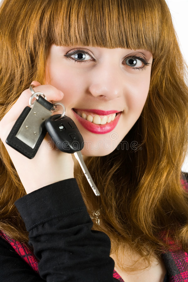 Sales Woman Offering Car Keys Royalty Free Stock Images