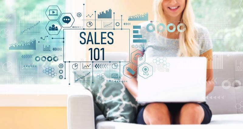 Sales 101 with woman using a laptop stock photo