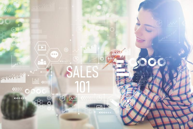 Sales 101 with young woman stock image