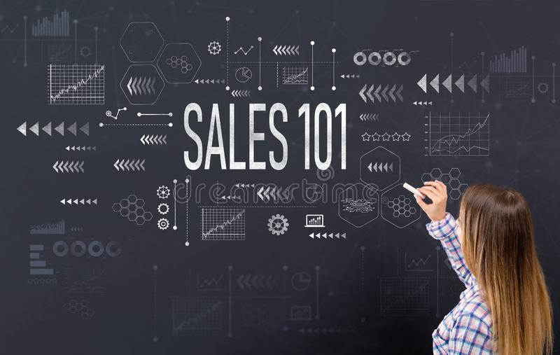 Sales 101 with young woman royalty free stock image