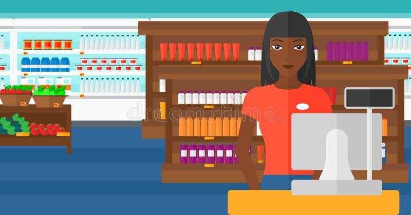 Saleslady standing at checkout. vector illustration