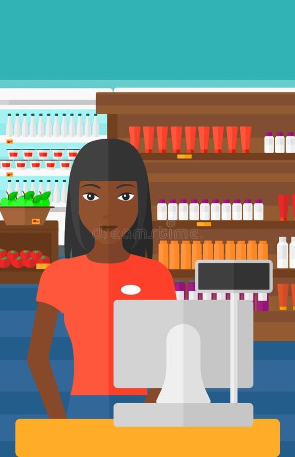 Saleslady standing at checkout. royalty free illustration