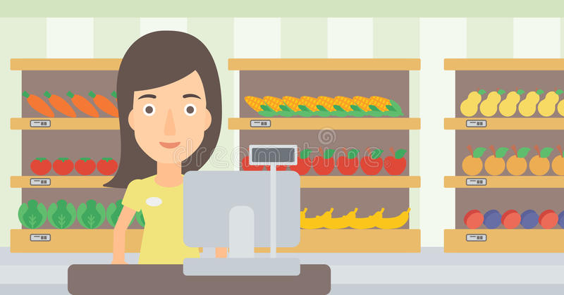 Saleslady standing at checkout. A saleslady standing at checkout on the background of supermarket shelves with products vector flat design illustration stock illustration