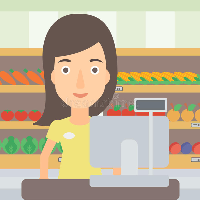 Saleslady standing at checkout. A saleslady standing at checkout on the background of supermarket shelves with products vector flat design illustration. Square vector illustration