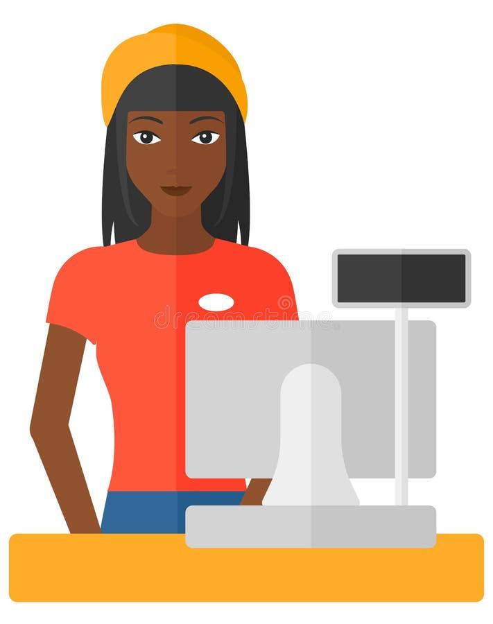 Saleslady standing at checkout royalty free illustration