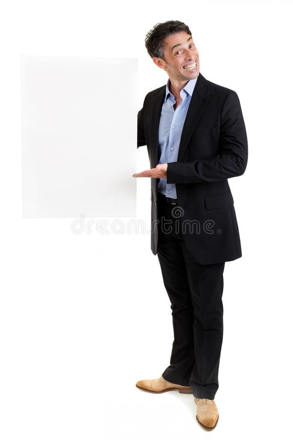 Salesman with a blank placard