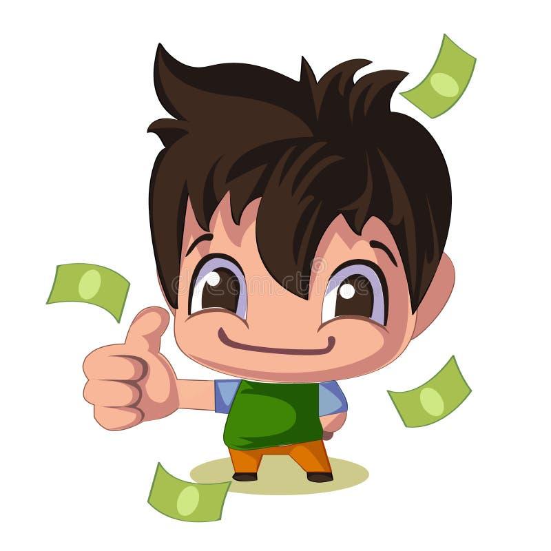 salesman Indivíduo engraçado Doces dos dólares ilustração do vetor