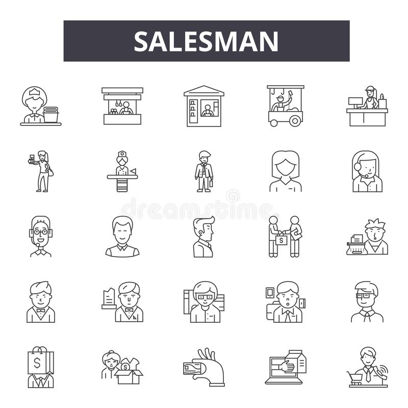 Salesman line icons, signs, vector set, linear concept, outline illustration royalty free illustration