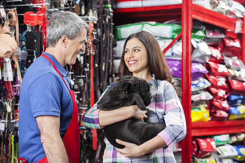 Salesman Looking At Customer With Bulldog In Pet Store. Happy women carrying French Bulldog while standing with salesman in pet store royalty free stock images