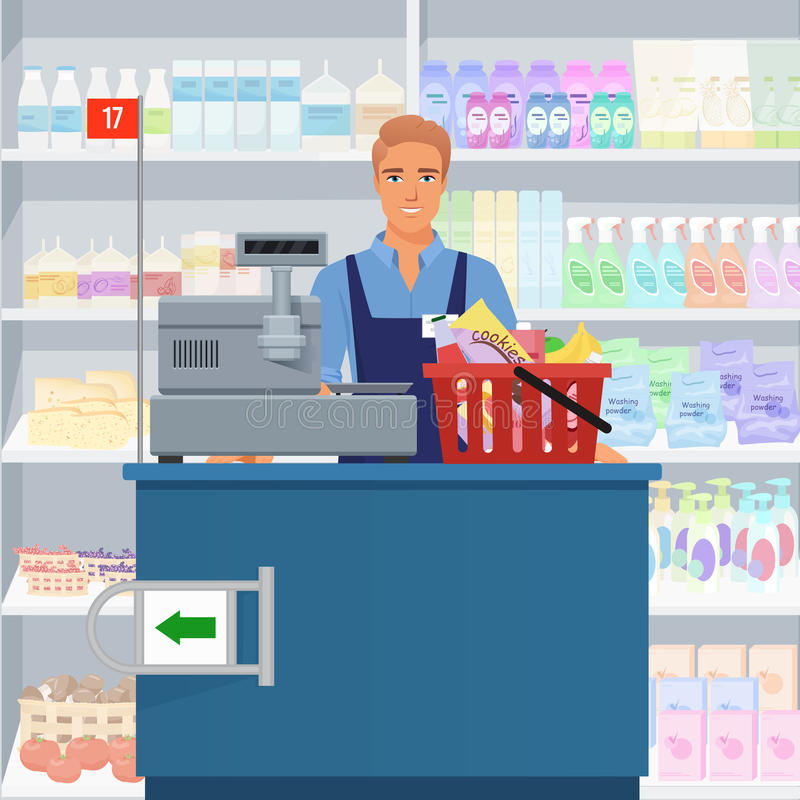 Salesman man cashier standing at checkout in supermarket. Salesman man cashier standing at checkout in supermarket stock illustration