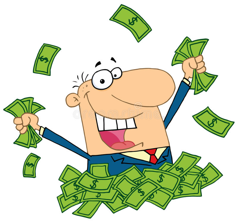 Salesman playing in a pile of money royalty free illustration