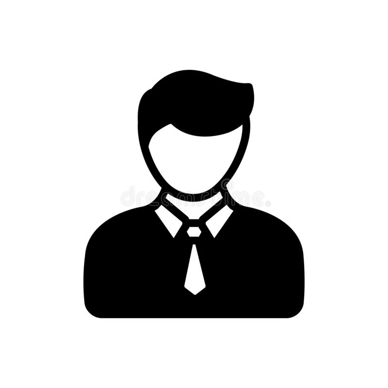 Black solid icon for Salesman, sales person and agent royalty free illustration