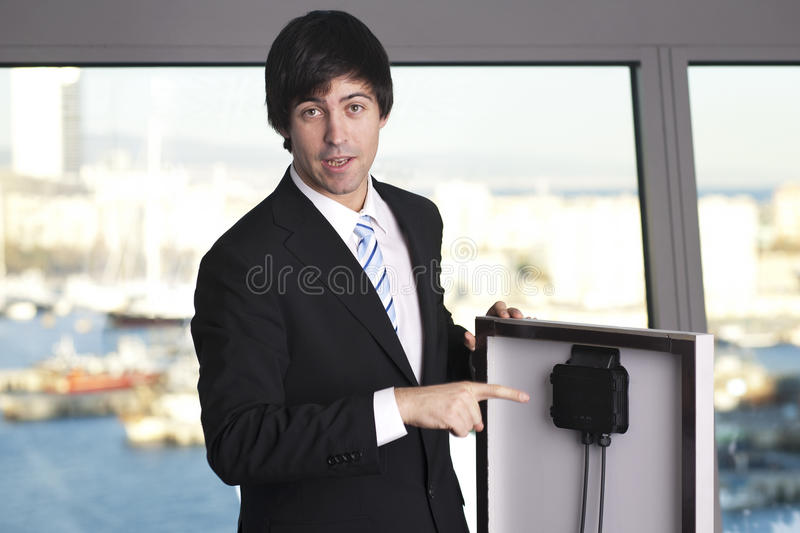 Salesman selling solar panel royalty free stock images