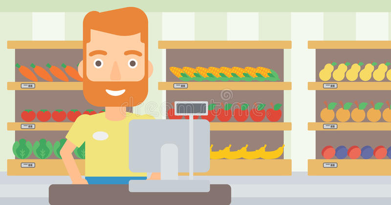 Salesman standing at checkout. A hipster salesman with the beard standing at checkout on the background of supermarket shelves with products vector flat design vector illustration