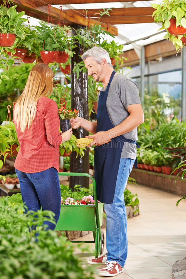 Salesman talking to customer in nursery shop. Salesman talking to female customer in a nursery shop and offering guidance stock photo