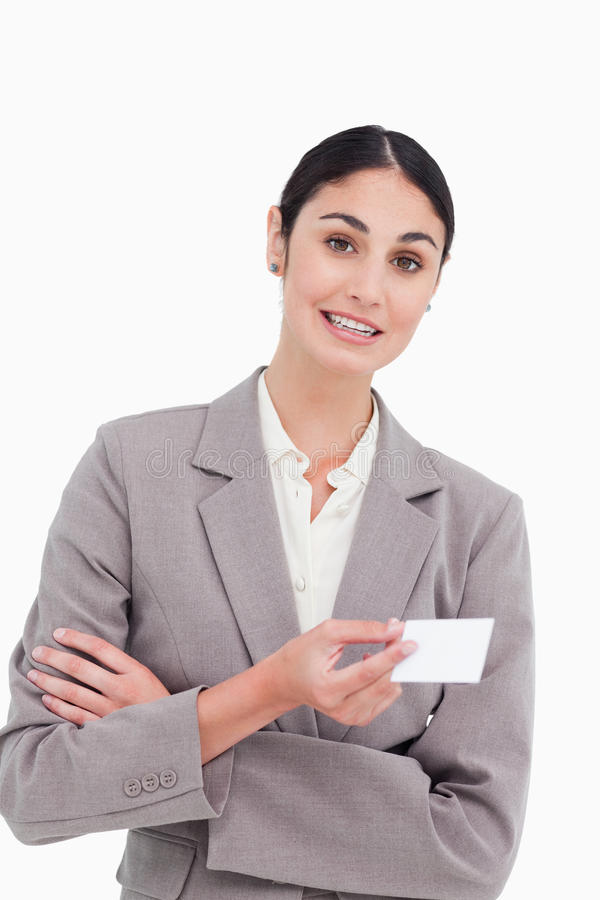 Download Saleswoman With Arms Folded And Business Card Stock Image - Image: 23014147